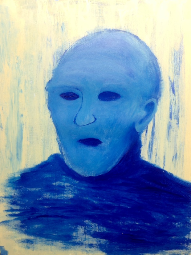 """""""Return of the Blue Watcher"""" 12"""" x 16"""" Acrylic on Paper"""