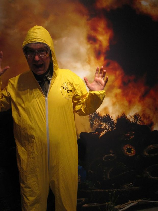 The kind folks at the Biosphere let me volunteer to put out a chemical fire. It did not go well.