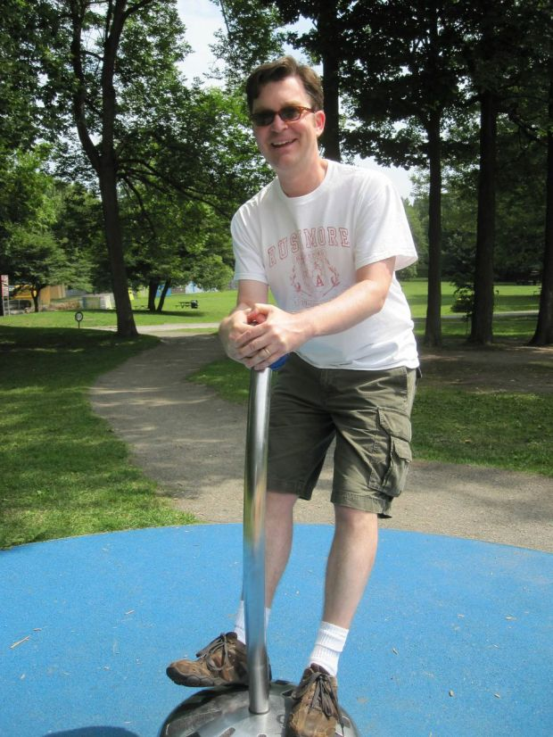 After climbing to the top of Mount Royal, I played for a while on the playground there.