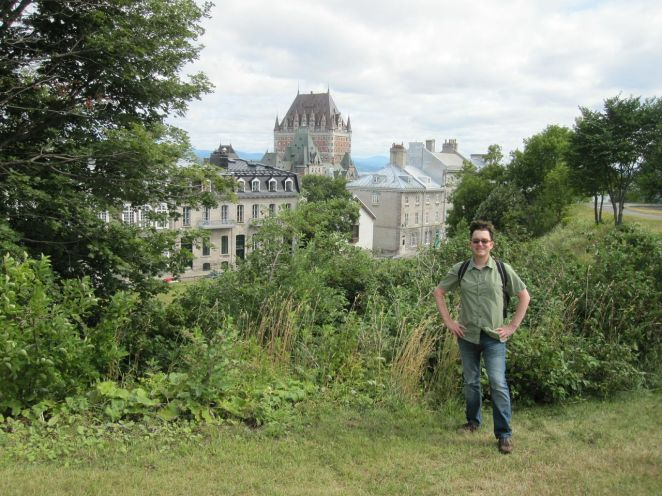 I'm not sure what's going on with my hair in this picture. I think it was intimidated by the size of the Chateau Frontenac, which is visible in the background, and tried to compensate. The Chateau Frontenac, by the way, is visible from every point in Quebec City.
